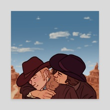 and they were cowboys - Canvas by Phil | brainyraccoons