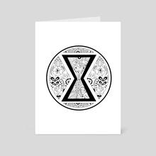 Black Widow Mandala Black & White - Art Card by Genevieve Blais