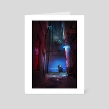 Chair in the alley - Art Card by Alberto Urra