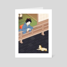 Cat on the tiled roof - Art Card by Sai Tamiya