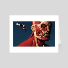 Saitama vs Colossal Titan - Art Card by Jason  Kang