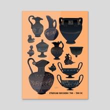 Etruscan Bucchero Pottery - Acrylic by Flora Kirk