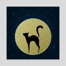 Cat silhouette - Canvas by e Drawings38