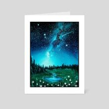 Playful Field at Night - Art Card by Addison Kanoelani