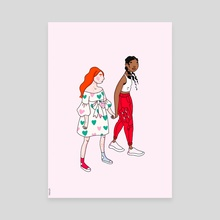 Cute Couple Pink - Canvas by Menah M