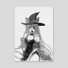 Dark Lady ink painting print - Acrylic by Amber Fleming