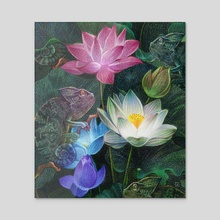 Chameleons Lotus  - Acrylic by Maethawee Chiraphong