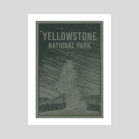 Yellowstone National Park Old Faithful Travel Poster by John Morris