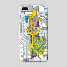 The magical Steam Loco Crow ! - Phone Case by Julien Trovato