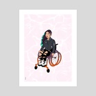 Cool Girl In A Wheelchair (White Ocean) - Art Print by Menah M