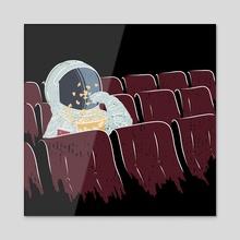 Astronaut Watching a Movie - Acrylic by Ziad Alhaddad