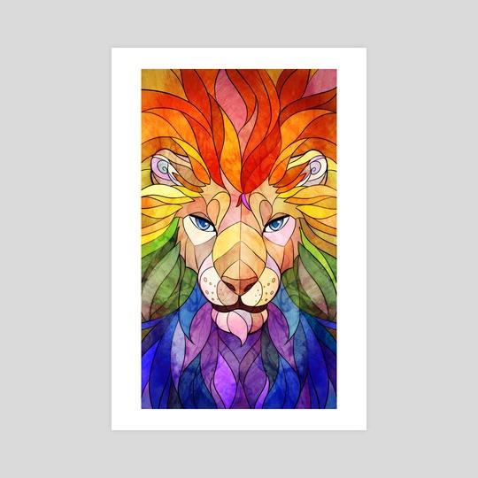Stained Glass: Rainbow Lion by Aleksandra Popowicz