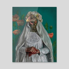 Be a chicken - Acrylic by Aamina Hashmi