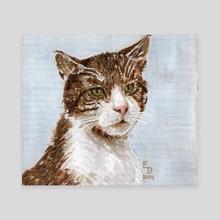 Cat On A Blue Background - Canvas by Edmund Duhonský
