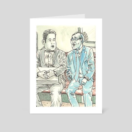 Men Talking in New York Subway by Dan Archer