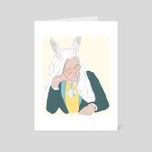 WHITE RABBIT - Art Card by zan choudhury