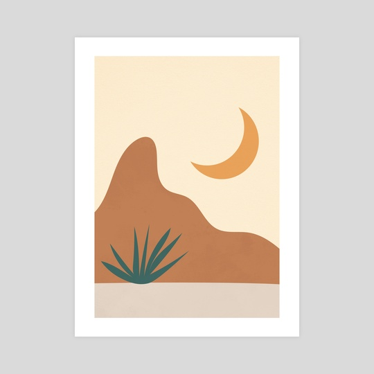 Bohemian Mountain, Moon, Burnt Orange by Ariani Anwar
