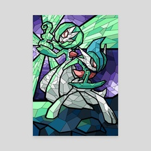 Stained Glass - Gardevoir and Gallade - Canvas by Nicole Castanheira
