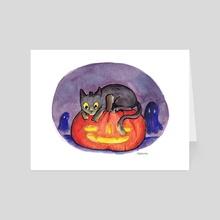 Black Cat Jack-o-Lantern - Art Card by Ashley P