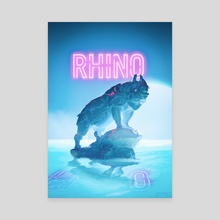 Neon Rhino - Canvas by Hubert Pelerin