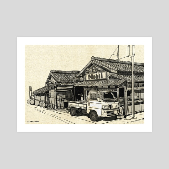 old japan gas station by Jason Scheier