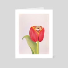 tulip mouse - Art Card by Rachel Qiuqi