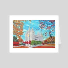 Autumn Salt Lake City, Utah LDS Temple - Art Card by Brian Sloan