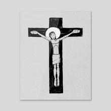 Jesus Christ at the Cross illustration - Acrylic by Bernardo Ramonfaur
