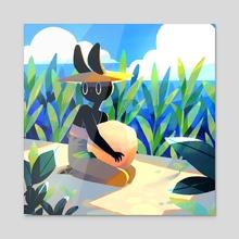 Summer Bunny No 11 - Acrylic by Jelena Hallmann-Haeschke