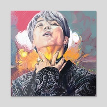 Blood Sweat Jimin - Acrylic by Quantrale Amos