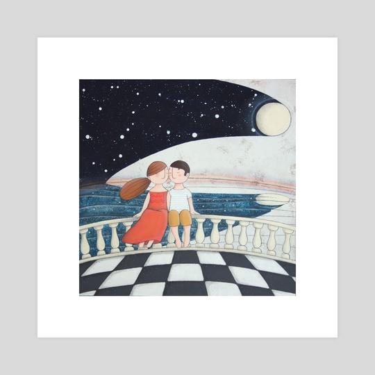 """Tingi di notte Luna!"" ""Paint of nigth Moon!"" by cinzia mazzoni"