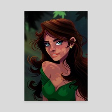 The girl in Green - Canvas by Shane Nel