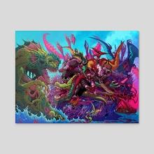 Monster Brawl - Acrylic by Brock Hofer