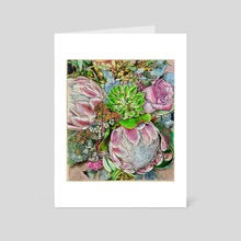 Pink Protea - Art Card by Miriam Carothers