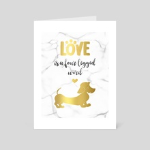 Wire hair Dachshund gold - Art Card by Laura R