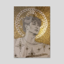 Chen - Golden Demon pencil and gold drawing - Acrylic by Xanthe P Russell