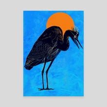 Heron - Canvas by David Bushell