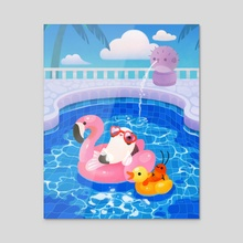 Cory cats in the swimming pool 2 - Canvas by pikaole