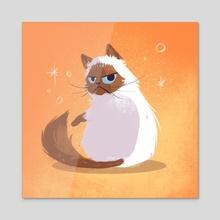 Grumpy Kitty - Acrylic by Ffion Evans