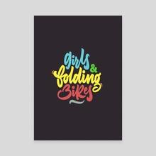 Girls & Folding Bikes - Canvas by David Casas