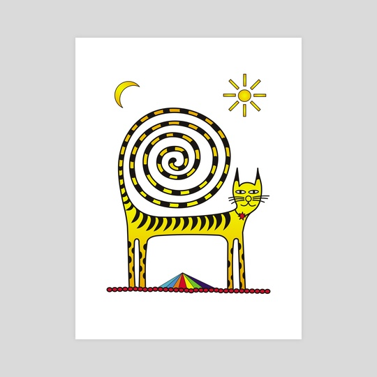 Cat with a spiral tail. Mystical and magical. Infinity. Pyramid. by Dmytro Rybin