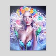Flower Fantasy - Acrylic by Sandra Winther