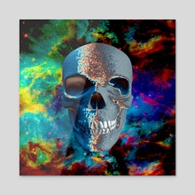 Skull in vivid space - Acrylic by Bruce Rolff