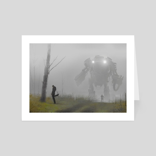 robot in the mist by Jakub Różalski