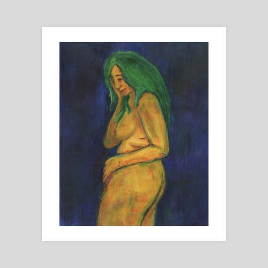 Self Portrait on Blue by Kezia Cole