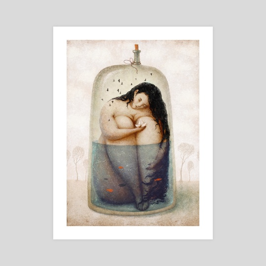 Woman in a bottle by Julia Tochilina