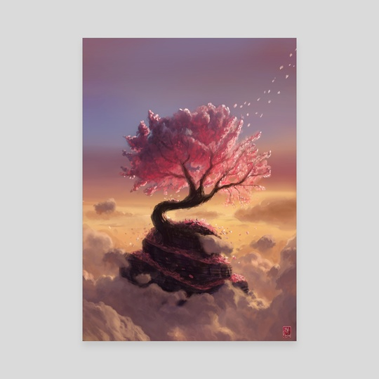 Pink Tree Hill by Maxime Chiasson Art