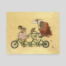 Monkey on My Bike - Canvas by Liza Ferneyhough