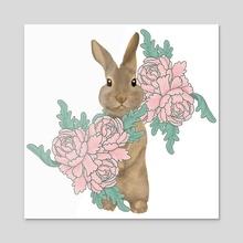 Bunny in the peony garden - Acrylic by Alex Creates
