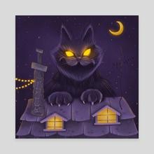 Yule Cat - Canvas by Anastasia Skachko